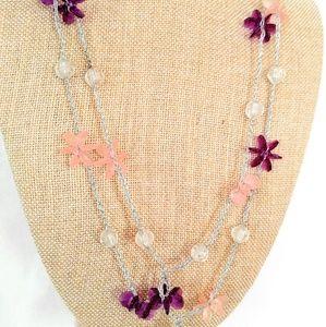 LONG Vintage Flower Burst Necklace-Purple/Pink